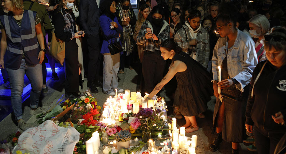 Vigils have been held in London and across Britain in recent days to remember Sabina Nessa and to highlight violence against women. Source: AP Photo/David Cliff