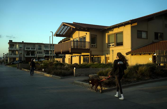 A training center for lifeguards occupies the former property of the Bruce family in Manhattan Beach, Calif., on March 9, 2021.  (Gabriella Angotti-Jones/The New York Times)