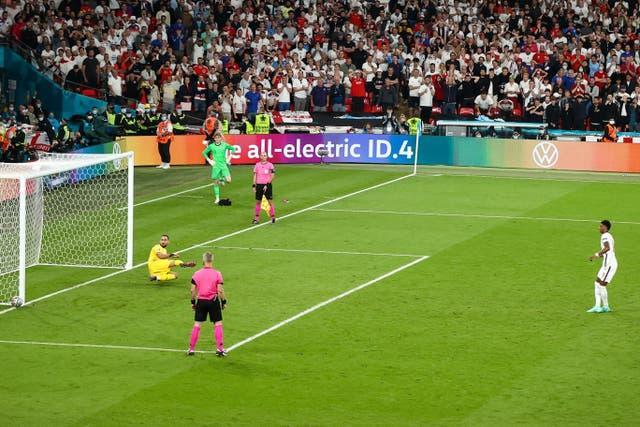 Marcus Rashford hit the post with his penalty in the Euro 2020 final