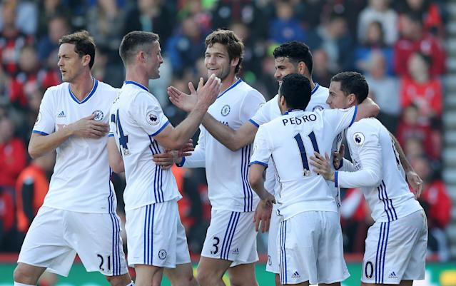<p>Chelsea celebrate their third goal</p>