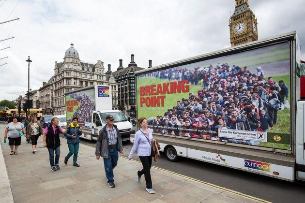 Vans displaying the UK Independence Party's new EU referendum campaign poster near Parliament in June 2016.