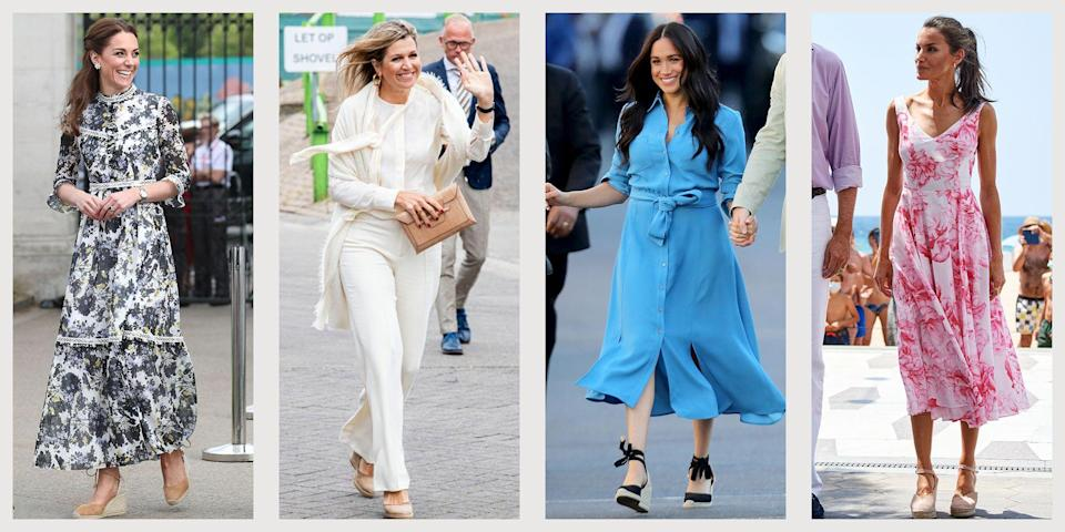 <p>There's a reason royals from all over gravitate towards the espadrille wedge. The summery shoes are casual enough for a low-key event (say, a garden party or daytime engagement), but still read as put-together—in other words, ideal for walking the line between relatable and aspirational; that delicate balance that royals are always trying to perfect.</p><p>Here, photos of Kate Middleton, Meghan Markle, Queen Letizia, Queen Maxima, and more royals rocking espadrilles.</p>