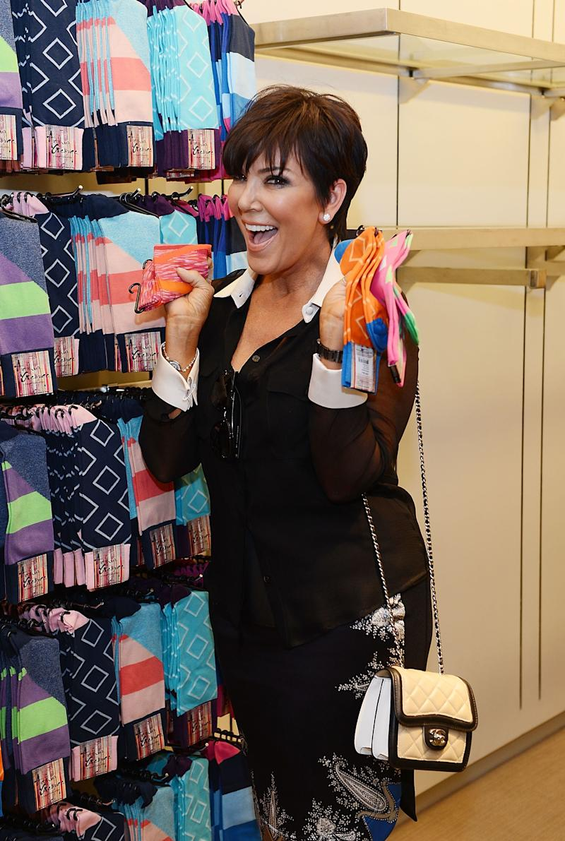 Kris Jenner at Neiman Marcus for an unveiling of an Arthur George sock collection in Las Vegas, 2013.