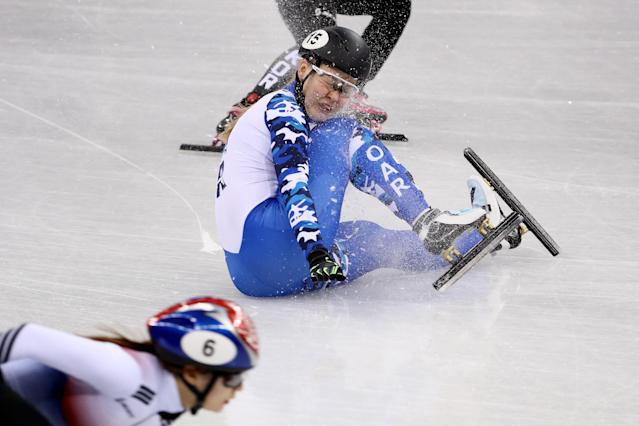 <p>A member of the Olympic Athlete from Russia crashes during the Ladies' 3000m relay Short Track Speed Skating qualifying on day one of the PyeongChang 2018 Winter Olympic Games at Gangneung Ice Arena on February 10, 2018 in Gangneung, South Korea. (Photo by Jamie Squire/Getty Images) </p>