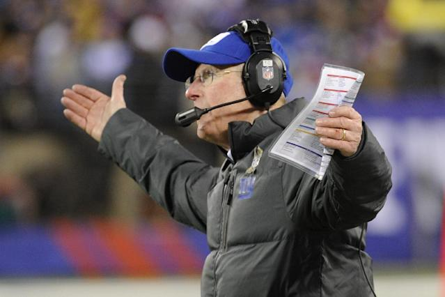 New York Giants head coach Tom Coughlin reacts during the first half of an NFL football game against the Dallas Cowboys Sunday, Nov. 24, 2013, in East Rutherford, N.J. (AP Photo/Bill Kostroun)