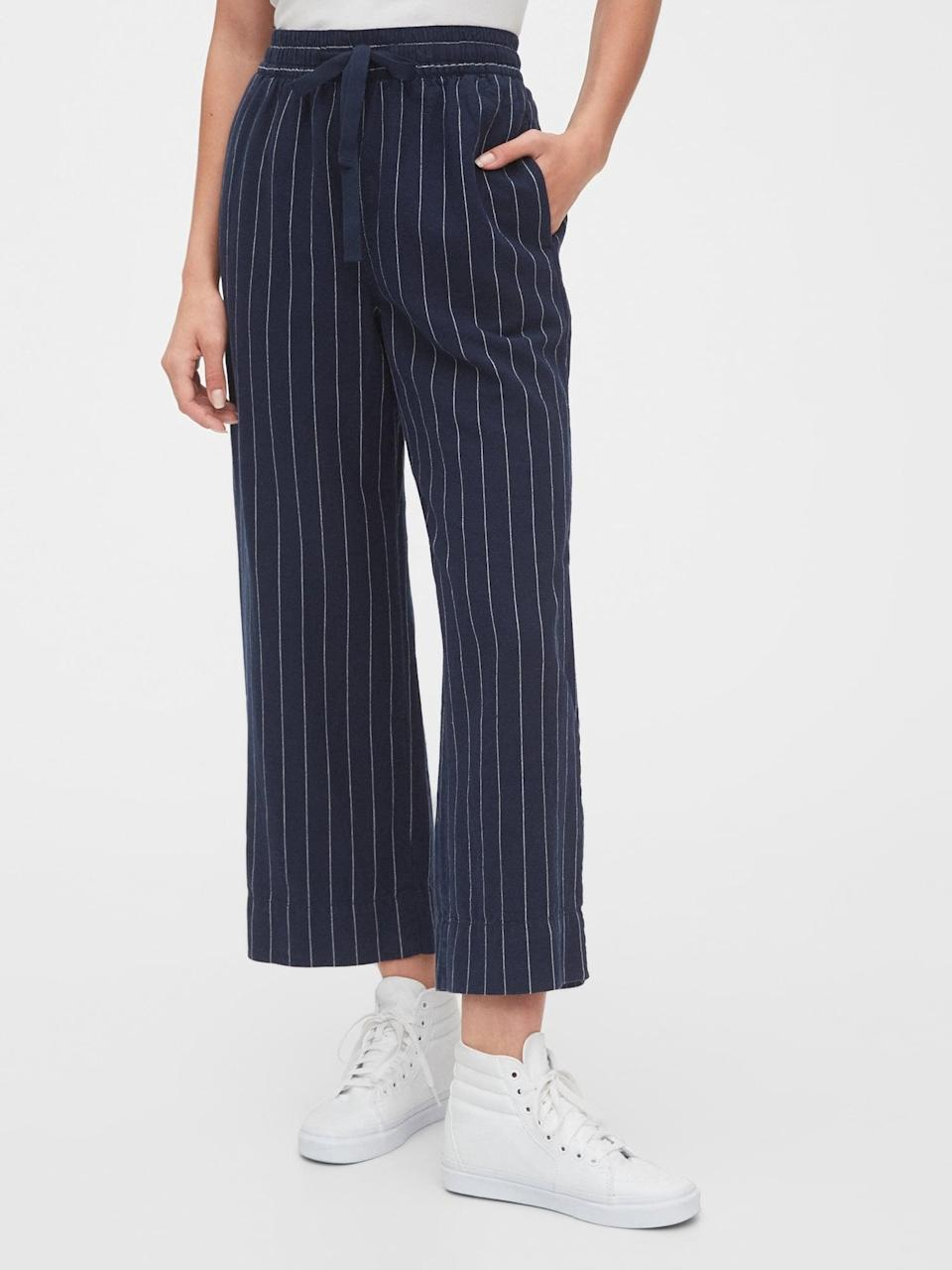 <p>These <span>Gap Linen Wide-Leg Pants</span> ($45, originally $70) would look great with sneakers and a tee.</p>