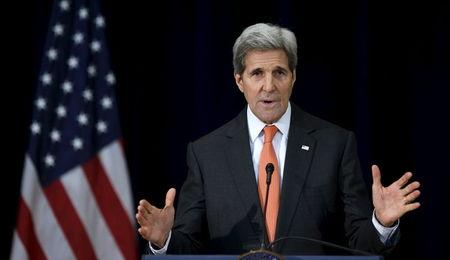 John Kerry speaks at the State Department in Washington