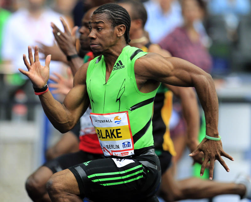 Yohan Blake from jamaica  runs during the Men's 100 Meter race at the ISTAF Athletics Meeting in Berlin, Germany, Sunday, Sept. 11, 2011. (AP Photo/Michael Sohn)