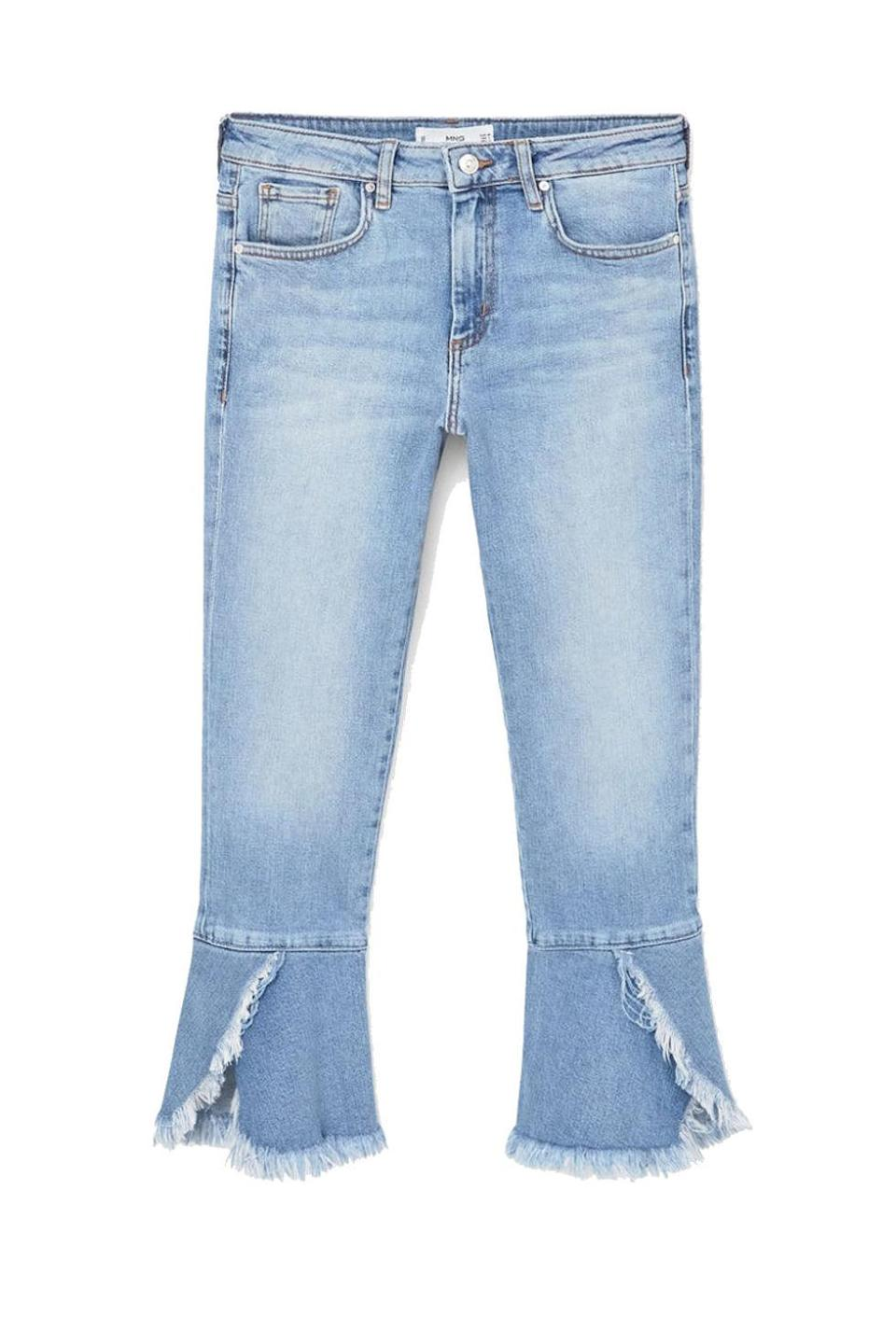 """<p>Important: When you turn sideways, the little petal-like peplums balance out your bum, something you can't say about skinny jeans, COUGH. </p><p><strong>BUY IT:</strong> Mango, $80; <a href=""""http://shop.mango.com/US/p0/women/clothing/jeans/straight/peplum-flare-jeans?id=83047608_TM&n=1&s=prendas.tejanos"""" rel=""""nofollow noopener"""" target=""""_blank"""" data-ylk=""""slk:shop.mango.com"""" class=""""link rapid-noclick-resp"""">shop.mango.com</a>.</p>"""