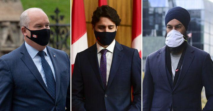 Conservative Leader Erin O'Toole, Prime Minister Justin Trudeau, and NDP Leader Jagmeet Singh are shown in a composite image of photos from The Canadian Press. (Photo: CP)