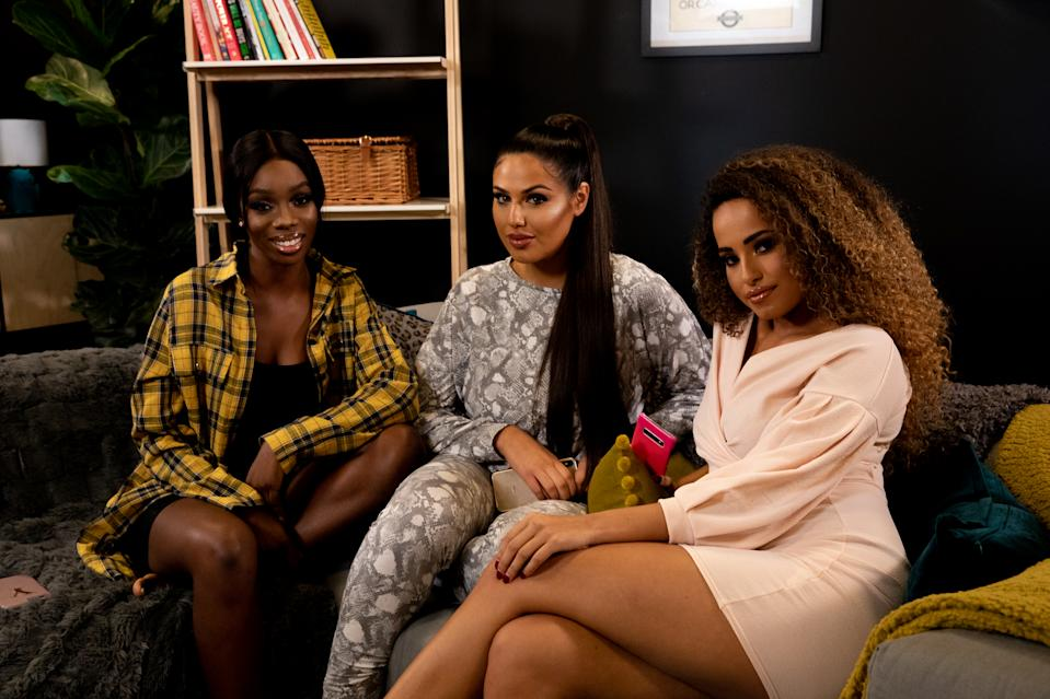 "LONDON, ENGLAND - NOVEMBER 18: (Embargoed until 09:00 on 2nd Dec 2019) (L-R) Yewande Biala, Anna Vakili and Amber Rose Gill during the ""Reality Check"" podcast photocall at MidCity Place on November 18, 2019 in London, England. (Photo by Milly Grange-Bennett/Getty Images for Yahoo)"