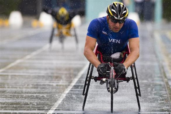 Juan Valladares, 31, a member of Venezuela's Paralympics team, participates in a competition in Barquisimeto April 26, 2012. Valladares is ranked first in the world in his category of the 400 meter race, and third in his category of 800 meters, according to the International Paralympic Committee.