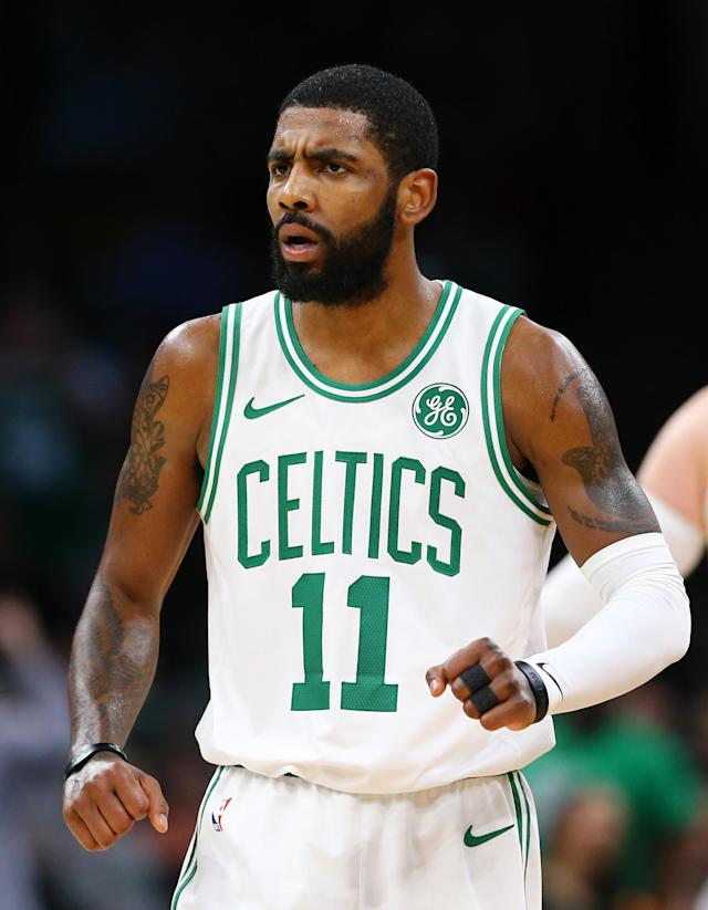 BOSTON, MA - DECEMBER 14: Kyrie Irving #11 of the Boston Celtics celebrates during the first quarter against the Atlanta Hawks at TD Garden on December 14, 2018 in Boston, Massachusetts. (Photo by Maddie Meyer/Getty Images)