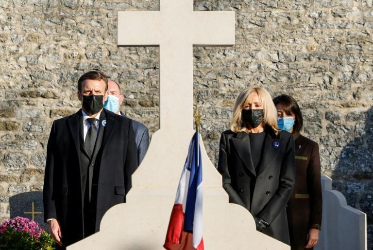 French President Emmanuel Macron and his wife Brigitte pay homage at De Gaulle's graveside