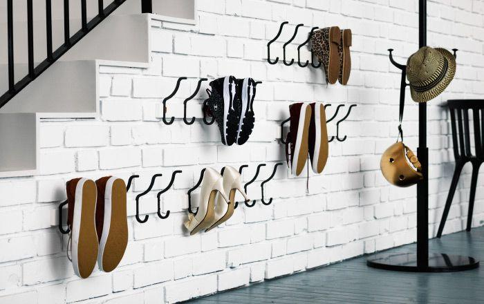 """<p>Often, you can track a family member's daily routine by the articles of clothing in your home (and the weird places they end up). For instance, shoes are always littered in the entryway and first room of your home. Encourage better behavior by using coat hooks to hold pairs of shoes. It's one less thing to trip over at least.</p><p><a href=""""http://www.ikea.com/us/en/ideas/201612_idor03a/"""" rel=""""nofollow noopener"""" target=""""_blank"""" data-ylk=""""slk:See more at IKEA »"""" class=""""link rapid-noclick-resp""""><em>See more at IKEA »</em></a></p>"""