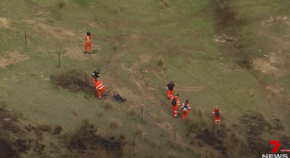 Search crews on the ground during the Putty search. Source: 7News/YouTube