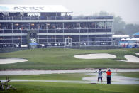 A general view to the 18th green during a weather delay of the final round of the AT&T Byron Nelson golf tournament in McKinney, Texas, Sunday, May 16, 2021. (AP Photo/Ray Carlin)
