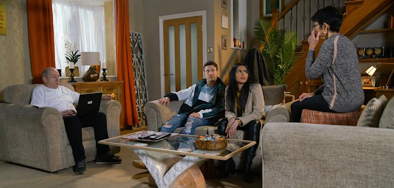 Alya Nazir [SAIR KHAN] and Ryan Connor [RYAN PRESCOTT] tell Yasmeen that Zeedan is getting married in Spain and has invited them to the wedding. When Geoff Metcalfe [IAN BARTHOLOMEW] asserts they can't abandon the restaurant, Alya explains he's not on the guest list. Having summoned Alya to No.6, Geoff takes great pleasure in announcing that he too will be attending the wedding and has booked a hotel. Alya's seething. Also pictures Yasmeen Metcalfe [SHELLEY KING] (ITV Plc)