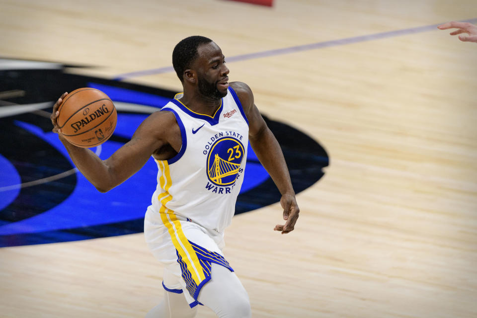 Feb 6, 2021; Dallas, Texas, USA; Golden State Warriors forward Draymond Green (23) in action during the game between the Dallas Mavericks and the Golden State Warriors at the American Airlines Center. Mandatory Credit: Jerome Miron-USA TODAY Sports