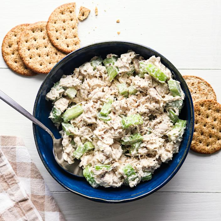 """<p>We put a flavor twist on the classic chicken salad by using a lemon-herb mayonnaise. Try other mayo varieties, like roasted garlic or chipotle lime, in this fast, no-cook lunch recipe. Serve with whole-grain crackers. <a href=""""https://www.eatingwell.com/recipe/7915641/3-ingredient-creamy-rotisserie-chicken-salad/"""" rel=""""nofollow noopener"""" target=""""_blank"""" data-ylk=""""slk:View Recipe"""" class=""""link rapid-noclick-resp"""">View Recipe</a></p>"""