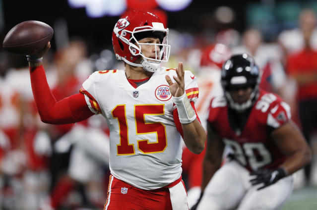 Chiefs quarterback Patrick Mahomes has one more tuneup game to show off his big arm. Kansas City faces Chicago on Saturday in a preseason game. (AP)