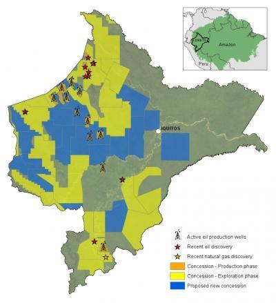 Oil and gas blocks in the western Amazon in 2008. Solid yellow indicates blocks already leased out to companies. Hashed yellow indicates proposed blocks or blocks still in the negotiation phase.