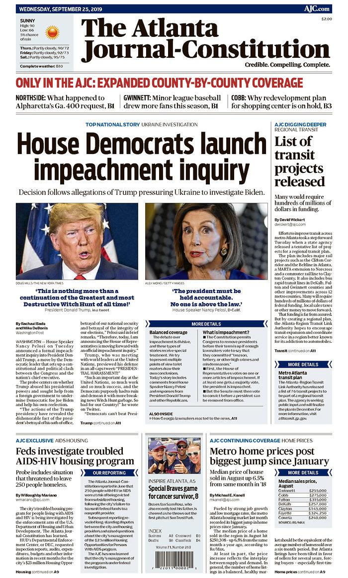 House Democrats launch impeachment inquiry The Atlanta Journal-Constitution Published in Atlanta, Ga. USA. (newseum.org)