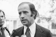 FILE - In this Dec. 12, 1972 file photo, Joseph Biden, the newly-elected Democratic Senator from Delaware speaks in Washington. (AP Photo/Henry Griffin, File)