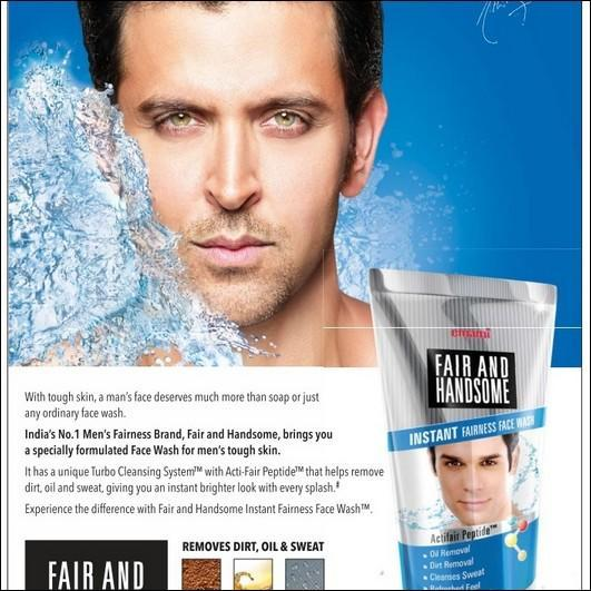 Hrithik Roshan succumbed to the fairness fetish after he bagged an advertisement deal with the FMCG major Emami, to endorse their Fair and Handsome cream for men. In his endorsement statement, Hrithik said that the brand was focusing on rejuvenating dull skin and restoring its lost sheen. That it was meant to make you fairer, is just by the way.