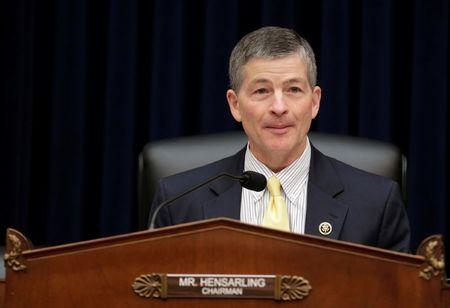 Chairman of the House Financial Services Committee Jeb Hensarling (R-TX) questions SEC Chairwoman Mary Jo White during a hearing in Washington.