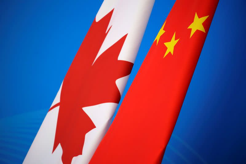 Flags of Canada and China are placed for the first China-Canada economic and financial strategy dialogue in Beijing