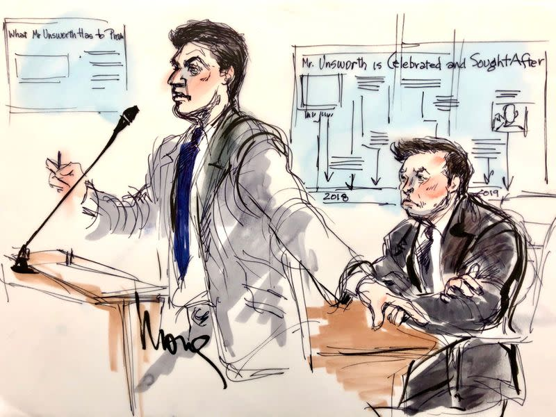 Elon Musk attends his trial in a defamation case brought by British cave diver Vernon Unsworth in Los Angeles