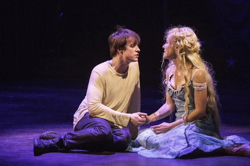 """This undated publicity photo provided by American Repertory Theater shows Matthew James Thomas, left, as Pippin and Rachel Bay Jones as Catherine in a production of """"Pippin,"""" at the American Repertory Theater in Cambridge, Mass. Producers of the Diane Paulus-led revival that is currently playing at the American Repertory Theater outside Boston said late Thursday that """"Pippin"""" will transfer to the Music Box Theatre this spring. Performances begin March 23 with an official opening on April 25. (AP Photo/American Repertory Theater, Michael J. Lutch)"""