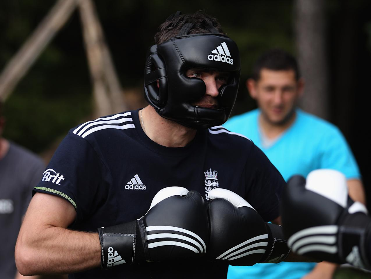 NUREMBERG, GERMANY - SEPTEMBER 26:  England player James Anderson prepares before a bout in the boxing excercise during the England Cricket squad Pre Ashes Training Camp on September 26, 2010 near Nuremberg, Germany.  (Photo by Stu Forster/Getty Images)