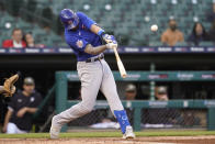 Chicago Cubs' Kris Bryant hits a two-run home run against the Detroit Tigers in the third inning of a baseball game in Detroit, Friday, May 14, 2021. (AP Photo/Paul Sancya)