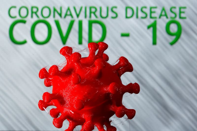 FILE PHOTO: A 3D-printed coronavirus model is seen in front of the words coronavirus disease (Covid-19) on display in this illustration