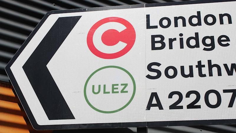 London Congestion Charg and ULEZ road sign