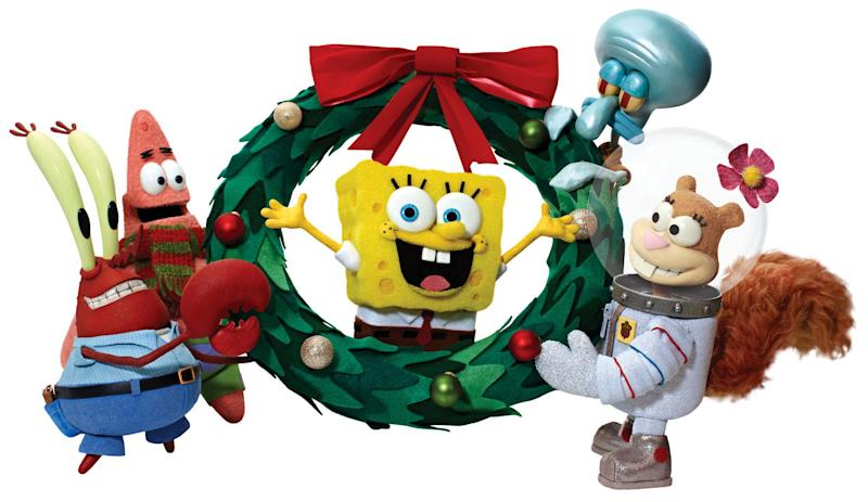 """This undated publicity photo provided by Nickelodeon shows the SpongeBob Squarepants holiday special, """"It's a SpongeBob Christmas."""" The special will debut Friday, Nov. 23, 2012, on CBS and then air Dec. 9 on Nickelodeon. (AP Photo/Nickelodeon, Christopher M. Lynch)"""