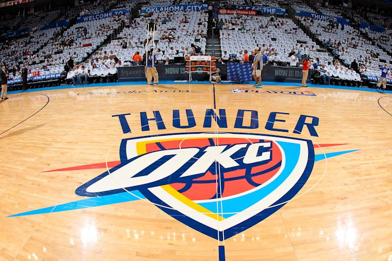 The Oklahoma City Thunder logo sits on display on the court before a game. (Joe Murphy/NBAE via Getty Images)