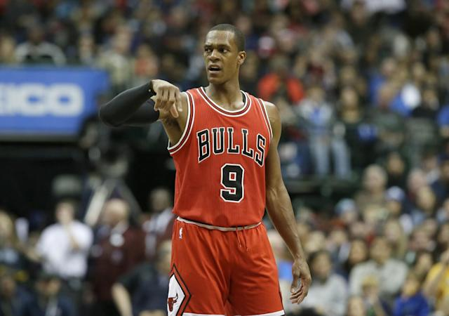 """The Bulls have suspended <a class=""""link rapid-noclick-resp"""" href=""""/nba/players/4149/"""" data-ylk=""""slk:Rajon Rondo"""">Rajon Rondo</a> for Monday's game against Portland. (AP)"""