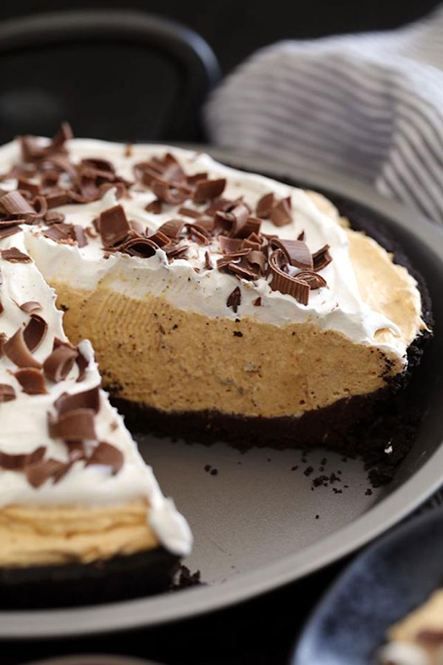 """<p>Take your pumpkin cheesecake to the next level by creating a rich bottom layer of chocolate ganache. </p><p><strong>Get the recipe at <a rel=""""nofollow"""" href=""""http://melaniemakes.com/blog/2016/09/black-bottom-no-bake-pumpkin-cheesecake.html"""">Melanie Makes</a>. </strong></p>"""