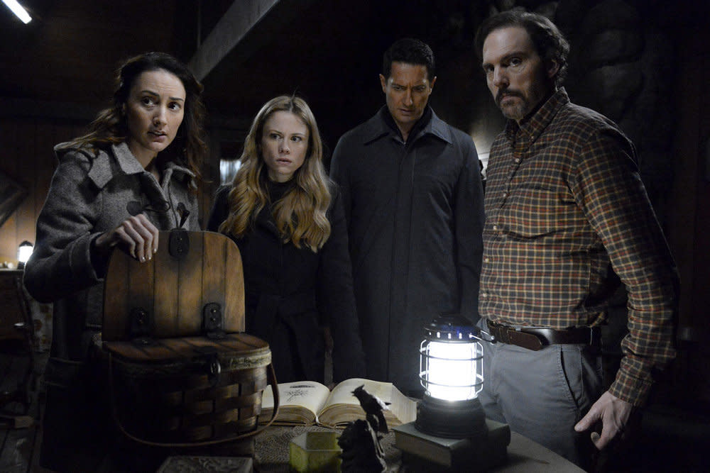 <p>Bree Turner as Rosalee Calvert, Claire Coffee as Adalind Schade, Sasha Roiz as Sean Renard, Silas Weir Mitchell as Monroe (Credit: Allyson Riggs/NBC) </p>
