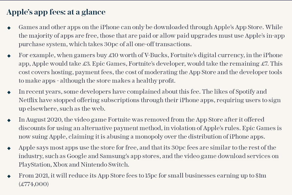 Apple's app fees: at a glance