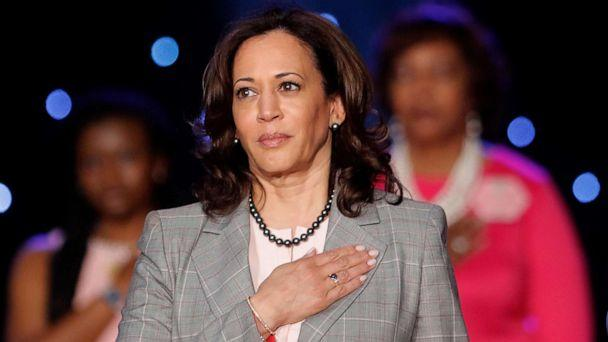 PHOTO: Democratic Presidential Candidate Sen. Kamala Harris holds her hand to her heart during the National Anthem before speaking at the Alpha Kappa Alpha Sorority South Central Regional Conference in New Orleans, April 19, 2019. (Gerald Herbert/AP)