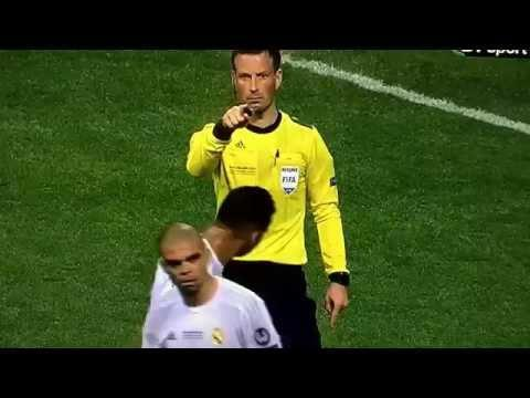 <p>Straight after his head-shaking and tongue antics, Clattenburg was in no mood to deal with the diving antics of Real Madrid defender Pepe.</p> <br><p>The Portugal international attempted to coax Clattenburg into sending off Atletico Madrid's Filipe Luis, but the referee saw straight through the drama and gesticulated towards Pepe after he had stopped rolling on the floor, indicating that he was watching the centre-back.</p> <br><p>Classic Clattenburg.</p>
