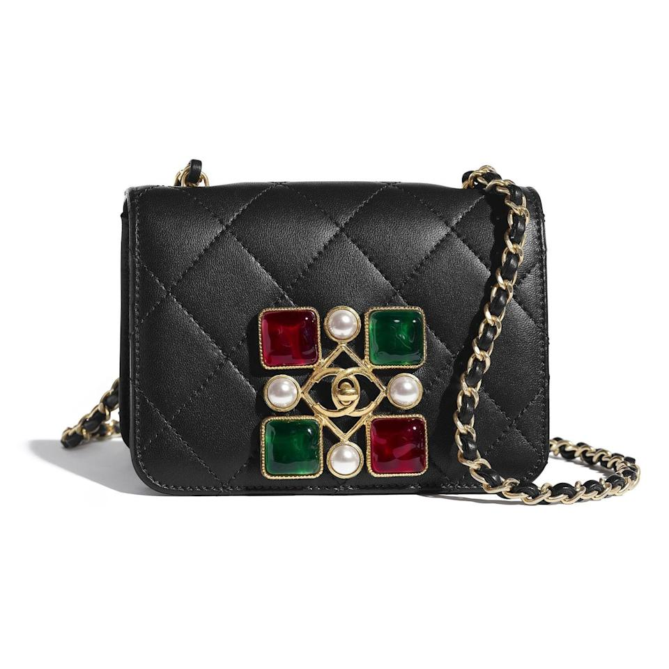 <p>Get a bag that encompasses the whole feeling—black quilted Chanel with pearls and gemstones. </p><p><strong>CHANEL</strong> Flapbag, $4,200, available at select CHANEL Boutiques Nationwide. For more information, please call (800) 550 0005.<br></p>