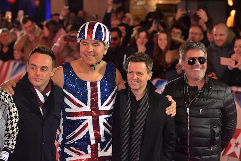 (left to right) Anthony McPartlin, David Walliams, Declan Donnelly and Simon Cowell at a photo call for Britain's Got Talent at the London Palladium.