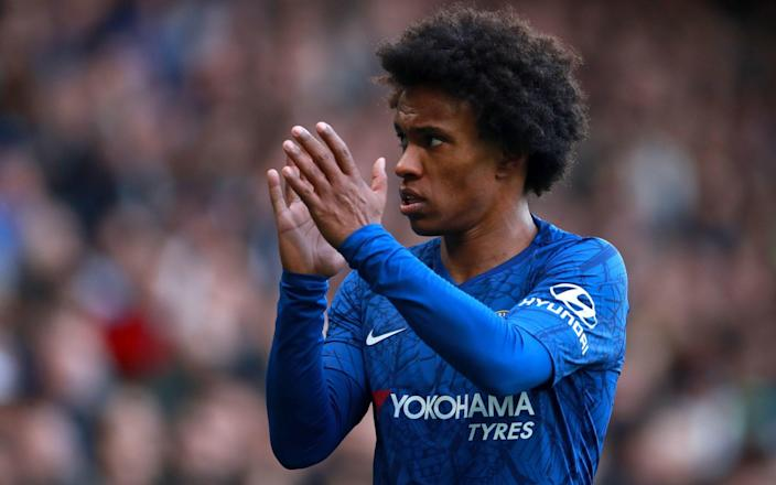 Willian applauding Chelsea's fans - Willian confirms Chelsea departure as expected Arsenal move progresses - PA