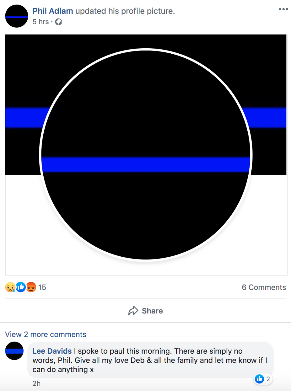 """Family and friends changed their profile pictures to a """"thin blue line"""" in honour of PC Harper. (Facebook)"""