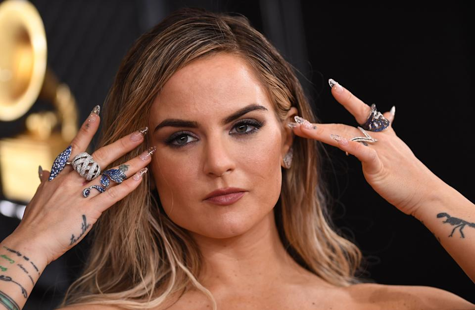 US singer JoJo arrives for the 62nd Annual Grammy Awards on January 26, 2020, in Los Angeles. (Photo by VALERIE MACON / AFP) (Photo by VALERIE MACON/AFP via Getty Images)